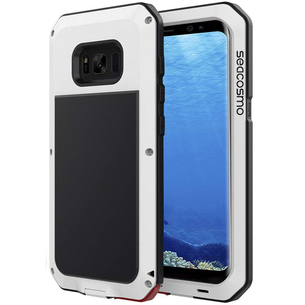 save off d0584 ea45f Galaxy S8 Case, Seacosmo Full Body Military Rugged Heavy Duty Aluminum  Shockproof Dual Layer Bumper Case for Samsung Galaxy S8, White