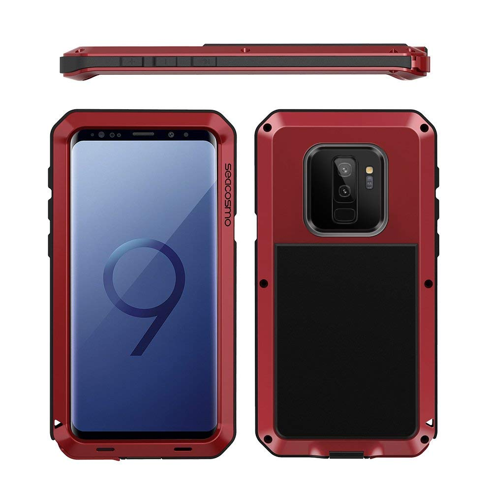 promo code cdc6b a2677 Seacosmo Galaxy S9 PLUS Case, Full Body Military Rugged Heavy Duty Aluminum  Shockproof Dual Layer Bumper Case Cover, Red